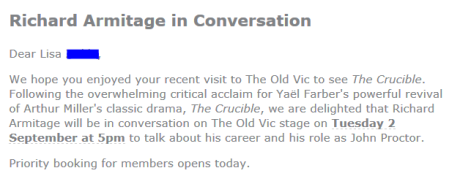 Richard Armitage Conversations